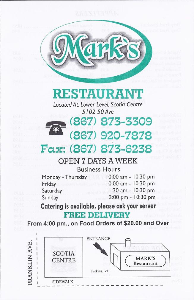 Northwest Auto Sales >> Restaurant Menus - Yellowknife, Northwest Territories ...