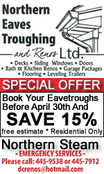 NORTHERN EAVE TROUGHING AND RENOS Sale Apr 30th 2016