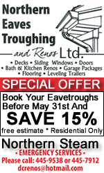 Northern Eave Troughing and Renos May Sale 2019